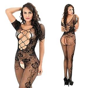 lencería erótica: lencerías de Mujer,Venmo Mujer Abierta Entrepierna Bodys Perspectiva Imprimir Ro...