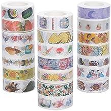 WRITIME Cinta Adhesiva Washi Tape Set de 27/15Mm X 10M/Cinta de Papel Decoración Brillante Decoración de Papelería/Fruta/Flor