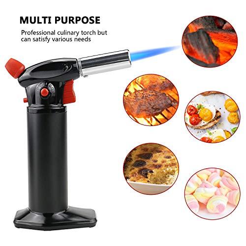 Gifort Küchenbrenner Flambierbrenner mit Sicherheitsschloss,Butan inbegriffen nicht (Black-Red)