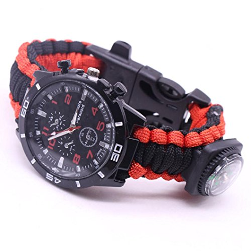 Yogogo Outdoor Survival Watch Armband Paracord Kompass Flint Feuerstarter Pfeife (Bunt G)