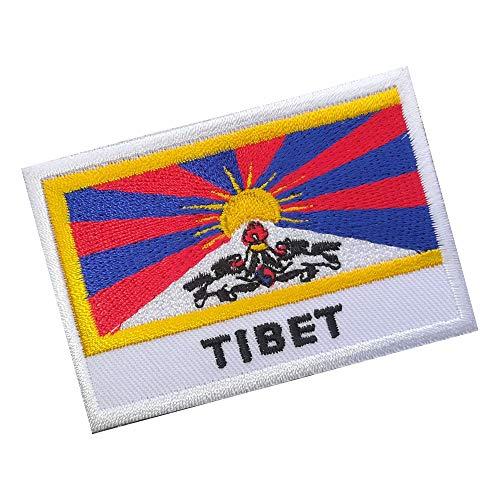 Preisvergleich Produktbild Lucky Patches,  Aufnäher,  Iron on Patch,  Applikation,  Fahne,  Flagge,  Wimpel - Tibet,  Dach der Welt,  7 x 5 cm