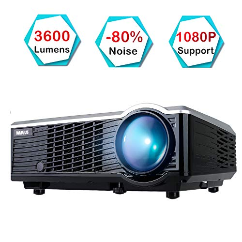 Beamer, WiMiUS T7 3600 Lumens Mini-Projektor, tragbarer LED-Projektor unterstützt 1080P HDMI USB VGA AV, Multimedia-Heimkino-LCD-Videobeamer für TV, PC Laptop Xbox PS4 iPhone Smartphone