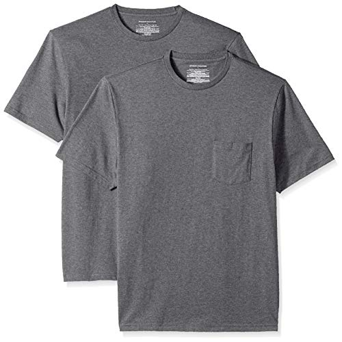 Amazon Essentials mens 2-Pack Regular-Fit Crew Pocket T-Shirt T-Shirt 2-Pack Regular-Fit Crew Pocket T-Shirt, Grau (Charcoal Heather Cha), Medium (Herstellergröße: Medium) -