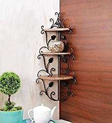 Decorasia Wooden Corner Rack Wall Shelf for Home Decor, Standard (Brown)