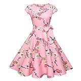 50er Vintage Kleider, Loveso ❤️ Damen Elegant Audrey Hepburn Kleid Kurzarm A-Linie mit Blumendruck U-Ausschnitt Partykleider Cocktailkleid Printkleid Knielang (❤️ Rosa, L)