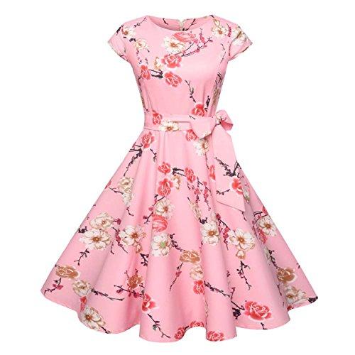 , Loveso ❤️ Damen Elegant Audrey Hepburn Kleid Kurzarm A-Linie mit Blumendruck U-Ausschnitt Partykleider Cocktailkleid Printkleid Knielang (❤️ Rosa, S) (Herren 50er Jahre Kleidung)