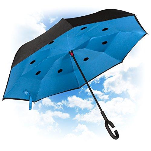 Paraguas Invertido. Paraguas Inverso Original Reversible de Colores de Mujer y Hombre Antiviento para Coche, Grande, Alta Calidad. Abre y cierra al revés. Asa Suave en C. Regalo:Bolsa. GOLDEN LEMUR.