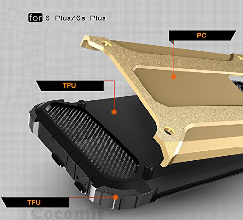 iPhone 6S Plus / 6 Plus Coque, Cocomii Commando Armor NEW [Heavy Duty] Premium Tactical Grip Dustproof Shockproof Hard Bumper Shell [Military Defender] Full Body Dual Layer Rugged Cover Case Étui Hous Gold