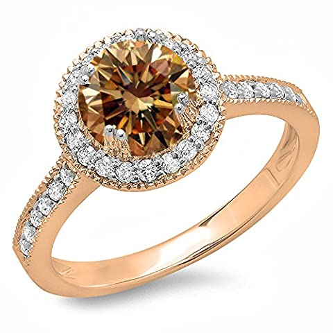 1.15 Carat (ctw) 14 ct Rose Gold Champagne & White Diamond Bridal Halo Engagement Ring