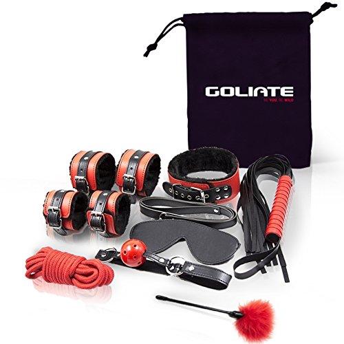 Goliate BDSM-Set für Paare | Sex-Spielzeug für Sie und Ihn | Leder-Bondage-Set für Männer und Frauen | Handschellen | Sklaven-Halsband | SM-Leine | Peitsche | Maske | Seil zum Fesseln | Staubwedel -