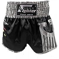 4Fighter Muay Thai Shorts nazionale Germania nero nella progettazione jersey di Coppa del Mondo, Taille:S - Muay Thai Kickbox Shorts
