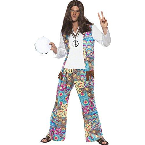 NET TOYS 70er Jahre Hippie Kostüm Flower Power L 52/54 Hippieoutfit Hippiekostüm Herren Flowerpower Outfit 60er ()