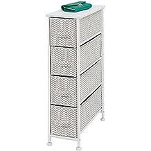 mDesign Cassettiera in tessuto – Comò con 4 cassetti – Pratico organizer con cassetti ideale per camera da letto e bagno – grigio tortora/bianco
