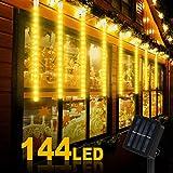 Nasharia Solar Lichterkette Außen, 4.4M 8 Spirale Tubes 144 LED Solar Lichterkette Aufgerüstet Meteorschauer Lichterkette IP65 Wasserdicht Warmweiß Solarlampen für Garten, Partys, Balkon, Hochzeit