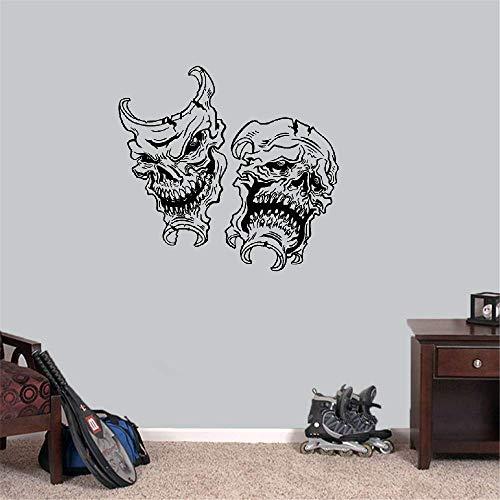 dtattoo Wohnzimmer Happy Halloween lustige Schädel Maske Lächeln jetzt später weinen für Jungen Schlafzimmer Wohnzimmer ()