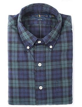 Polo Ralph Lauren Long Sleeve Sport Shirt camicia uomo button down in cotone (Green / Navy, S)