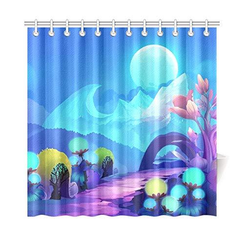 Bad Vorhang Bunten Wald Auf Anderen Seite Polyester Wasserdicht Duschvorhang Für Badezimmer, 72X72 Zoll Duschvorhang Haken Enthalten ()