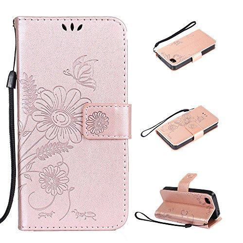 Cover per iPhone 4 / iPhone 4S, Vectady Custodia Cover in Pelle a Libro Portafoglio Wallet Magnetica Flip Cuoio Leather Case Protettiva Antiurto Caso con Porta Carte Funzione Cinturino da Polso Fiori  Oro Rosa Colore