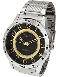 "Dice""Numbers-4284"" Formal Round Shaped Wrist Watch for Men. Fitted with Beautiful Black Dial, Stainless Steel Case and Chain"