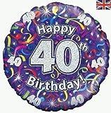 Oaktree 40 ANNI / 40th HAPPY BIRTHDAY STELLE FILANTI olografico 18 ' Palloncino rivestito