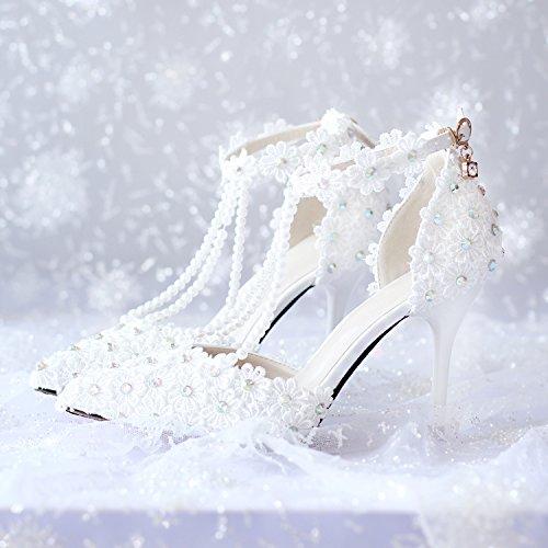 XIE Hochzeitsschuhe der Frauen / Brautjungfer und Braut / Strass Blumen / Stiletto Ferse / Spitzzehe / High-Heels Sandalen / Tanzschuhe 9CM