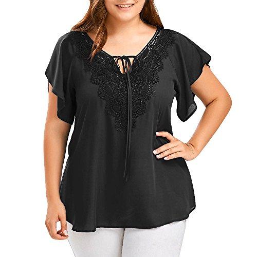 OVERDOSE Damen Mode Casual Chiffon Plus Size Curve Appeal Spitze V-Ausschnitt T-Shirt Bluse Kurze Fledermaus Ärmel Sommer Tops Tees Oberteile(Schwarz,EU-46/CN-XL)