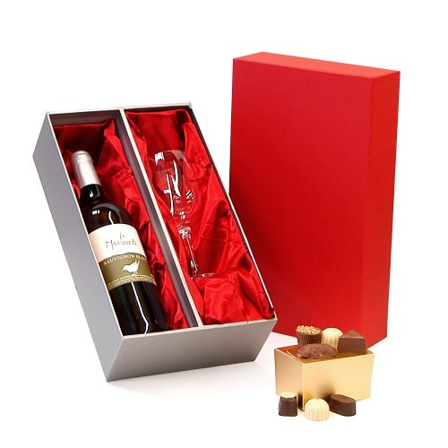 La Marouette Organic Sauvignon Blanc White Wine 750ml & Wine Glass with Belgian Chocolates Luxury Red & Silver Gift Box - Gift ideas for Mother's Day, Birthday, Anniversary and Congratulations Presents