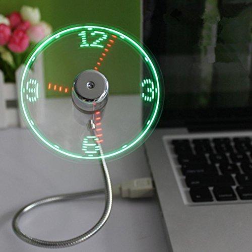 Sansee Mini USB Ventilator Mit LED Kühlung Blinkt Echtzeitanzeige Uhr Funktion (Grün)