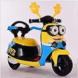 DDCX Elektrisches dreirädriges Motorrad der Kinder kleine gelbe Mann-Motorradmänner und Frauenbabyspielzeugspaziergänger,Yellow
