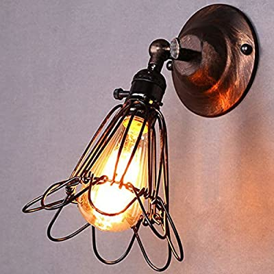 ONEVER Modern Vintage Edison Industrial Loft Brass Metal Rustic Sconce Wall Light Wall Lamps Small Cage Shape with E27 Socket for House, Bar, Restaurants, Coffee Shop, Club Decoration (110-220V, Bulbs not Included) - inexpensive UK wall light store.