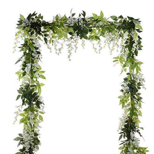 Attvn Kunstblumen, 2 Stück Glyzinien Künstliche Pflanze, Weiß Wisteria Künstlich gefälschte Blume, für Hochzeiten, zu Hause, Garten, Party, Hochzeit, Bogen Blumendekoration, 20 Blüten Zweige