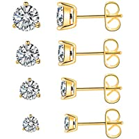 Assorted Size Earrings Set 18K Rose Gold/Yellow Gold Plated Cubic Zirconia & Opal Earrings Set Hypoallergenic for Women Men with Sensitive ears