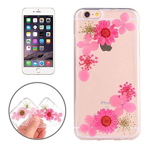 Easy go shopping custodia protettiva in tpu trasparente rigata con fiore reale essiccato a gocciolamento epossidico per iphone 6 e 6s (sku : ip6g2996m)