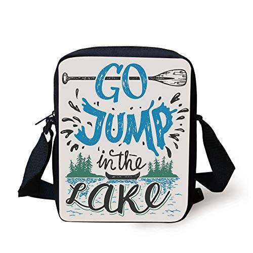 Cabin Decor,Vintage Typography Inspiration Quote Lake Sign Canoe Fishing Sports Theme Decorative,Blue Black Green Print Kids Crossbody Messenger Bag Purse Vintage-sandwich-cap