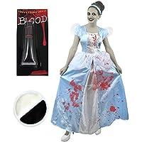 Déguisement accessoires pour adulte de celle devenue princesse jusqu'à minuit avec une robe bleue + du maquillage + du faux sang. Idéal pour les fêtes d'Halloween ou les enterrements de vie de jeune fille.