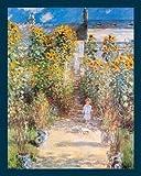 Bild mit Rahmen Claude Monet - Der Garten des Künstlers - Digitaldruck - Holz blau, 90 x 112.5cm - Premiumqualität - Impressionismus, Garten, Gartenweg, Sonnenblumen, Kind, Haus des Künstlers, .. - MADE IN GERMANY - ART-GALERIE-SHOPde