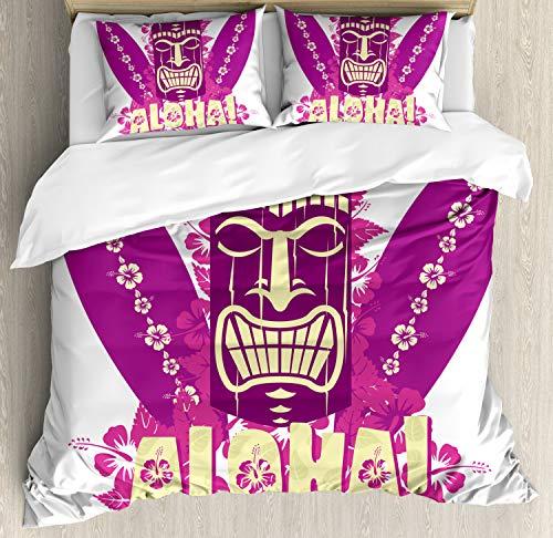 ettbezug Set King Size, Aloha Surfbretter, Kuscheligform Top Qualität 3 Teiligen Bettbezug mit 2 Kissenbezüge, Hellgelb Pink Lila ()