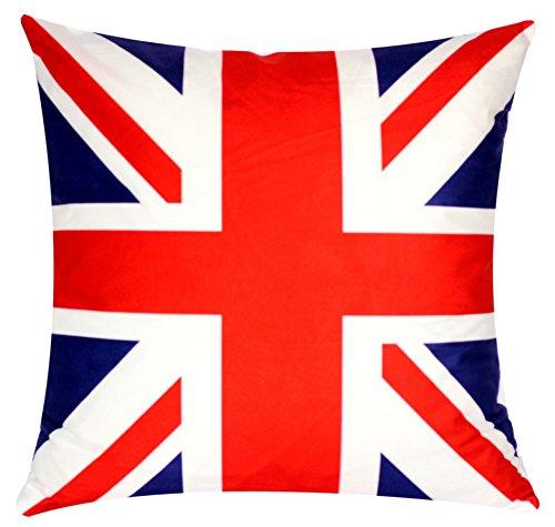 Bullahshah British Flagge Union Jack Print Blau Rot 17 x 17 Zoll Kissenbezug für Sofa Bett Couch (Union Sofa Jack)