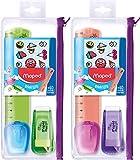 Maped - Trousse Multi-Produits Stick'Art à Customiser - Trousse Scolaire Transparente - 1 Règle Plate 15 cm + 1 Gomme + 1 Taille-Crayon + 60 Stickers - Coloris aléatoire