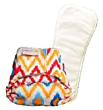 superbottoms Newborn Cloth Diaper With 2 Dry Feel Soakers - Ikat Chevron - White