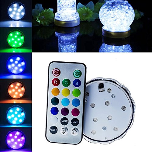 (asdomo 10LED Multi Color Wasserdicht Hochzeit Vase Basis Licht + Fernbedienung)