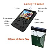 Qumox Handheld Game Console, Game Console 3 Inch 168 Games Retro FC Game Player Classic Game Console 1 USB Charge, Birthday Presents for Children - Black
