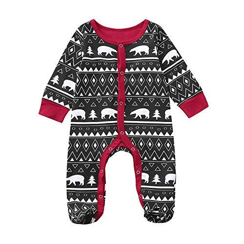hten Baby Jungen Mädchen Cartoon Print Weihnachtsspielanzug Overall Outfits Lange Ärmel Jumpsuit Infant Print Hooded Strickpullover Strampler Kleidung Spielanzug ()