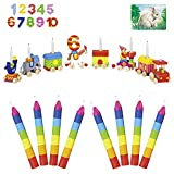 Goki Geburtstagszug Holz // mit Zahlen von 1-10 // 10 x Handbemalte Kerzen 10 cm