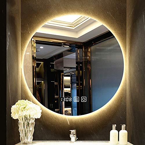 Bathroom mirror-Jack Nordische Runde Beleuchtete Led-Badezimmerspiegelleuchte Mit Hintergrundbeleuchtung Und Berührungsschalter Intelligente Anti-Fog Frameless Wand- Dekoration Make-Up Spiegel - Make-up-spiegel Wand Beleuchtete