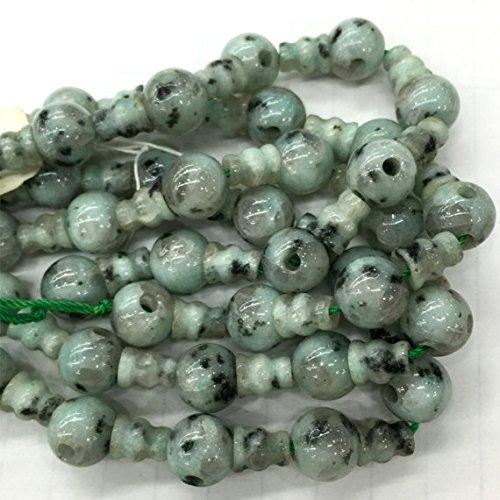 Jade-pagode (1Strähnen Natur Schwarz Dot grün Sesam Jade Pagode Tee drei links Buddha Kopf Tibet Guru Barrel Big Loch Perlen Größe: 10mm + 6X 8mm (10Sets/lot) 04231)