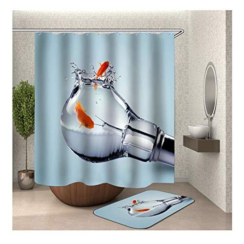 Knbob Polyester Duschvorhang & Badteppich Set Glühbirne Goldfische Bad Vorhang Badvorleger 90x180CM mit 12 Duschvorhangringen -