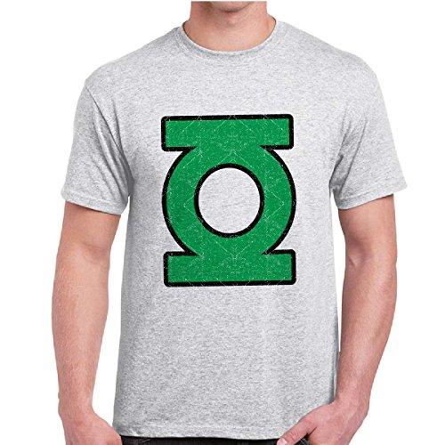 T-Shirt Maglietta Sheldon Uomo Con Stampa Supereroi Fumetti Green Lantern Logo, Colore: Cenere, Taglia: M