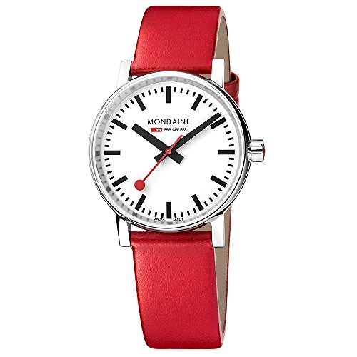 Mondaine Men's  evo2 35mm sapphire Watch with St. Steel polished Case white Dial and red leather Strap MSE.35110.LC