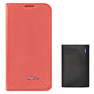 DMG Lishen Fine Leather Magnetic Wallet Folio Stand Case for Samsung Galaxy S5 (Pink) + 6600 mAh Power Bank